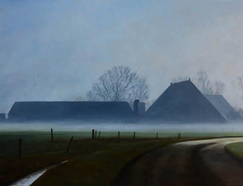 Boerderijen in de mist