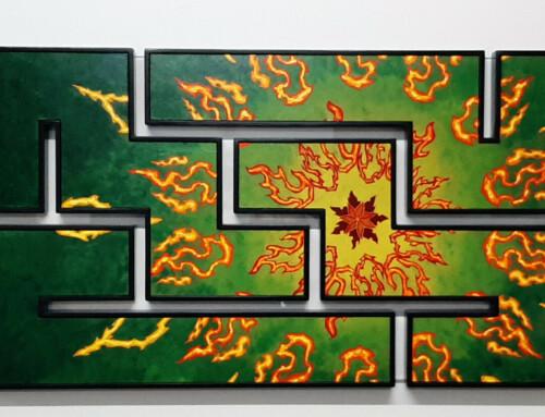 Rode Mandala op Groen